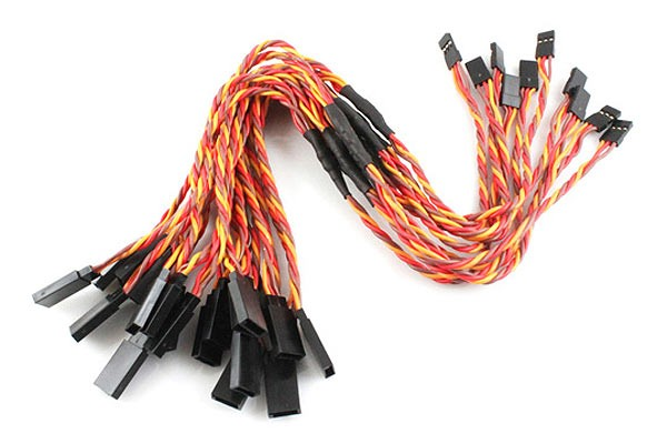 10Pcs Heavy Duty 22# / 22AWG Servo Twisted Wire Y cable 300mm JR Color