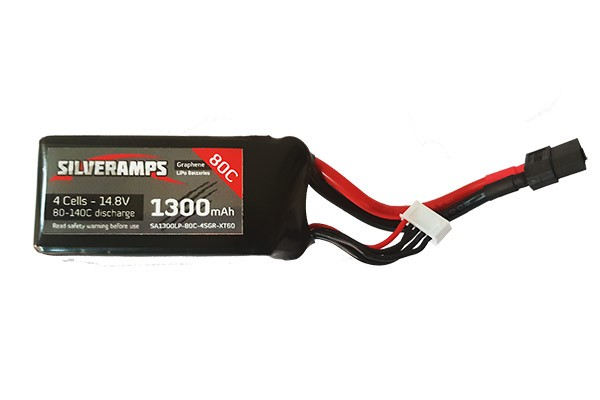 SilverAmps Graphene LiPo Battery 1300mAh 4S 80C